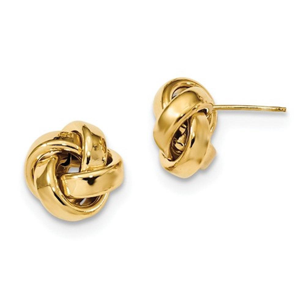 14k Yellow Gold 12mm Classic Love Knot Stud Post Earrings