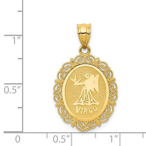 14k Yellow Gold Virgo Zodiac Horoscope Oval Pendant Charm