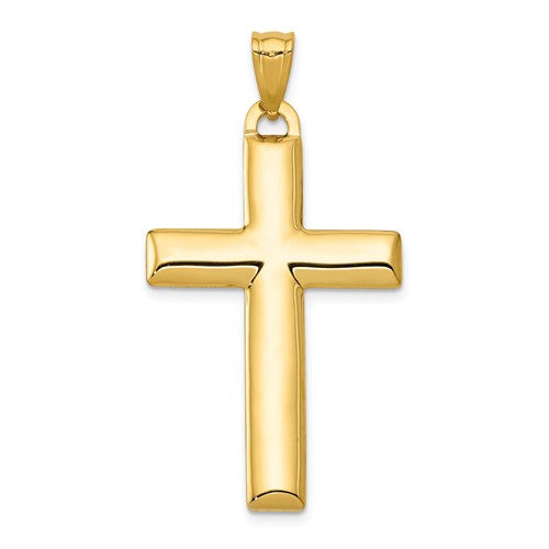 14k Gold Rhodium Two Tone Reversible Cross Hollow Pendant Charm
