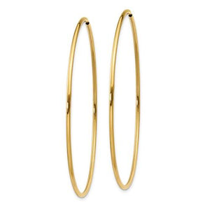 14K Yellow Gold 52mm x 1.5mm Endless Round Hoop Earrings