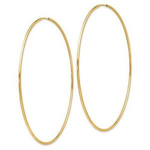 14K Yellow Gold 70mm x 1.2mm Round Endless Hoop Earrings