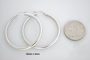 14K White Gold 45mm x 3mm Classic Round Hoop Earrings