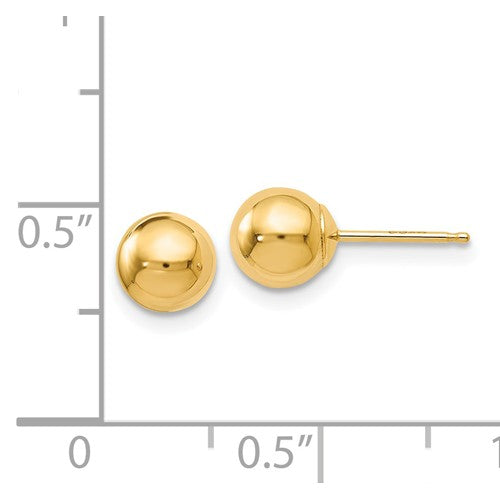 14k Yellow Gold 6mm Polished Ball Post Push Back Stud Earrings