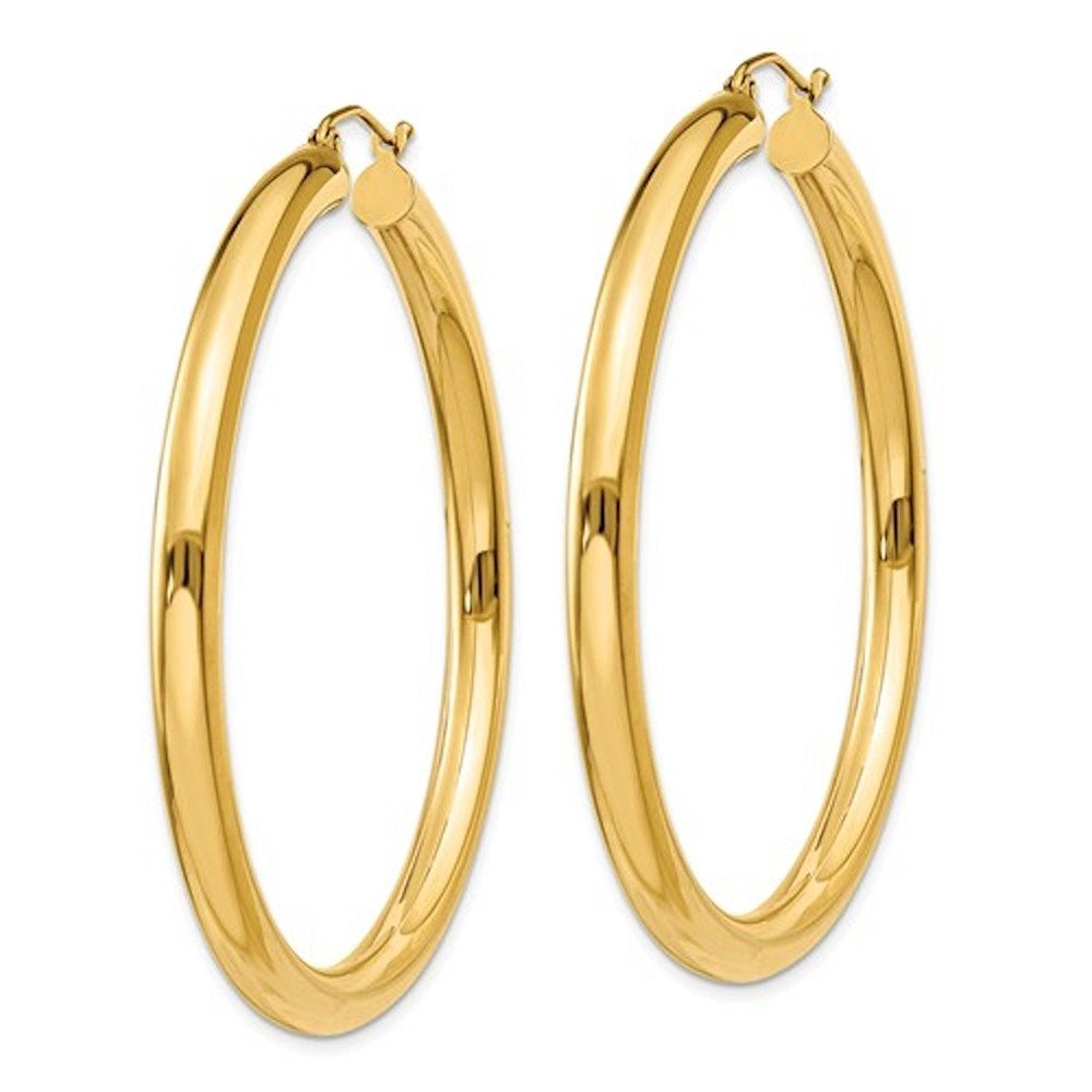 14K Yellow Gold Large Classic Round Hoop Earrings 50mmx4mm