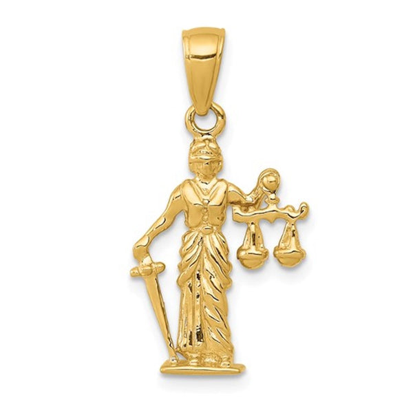 14k Yellow Gold Lady Justice Moveable Scales 3D Pendant Charm