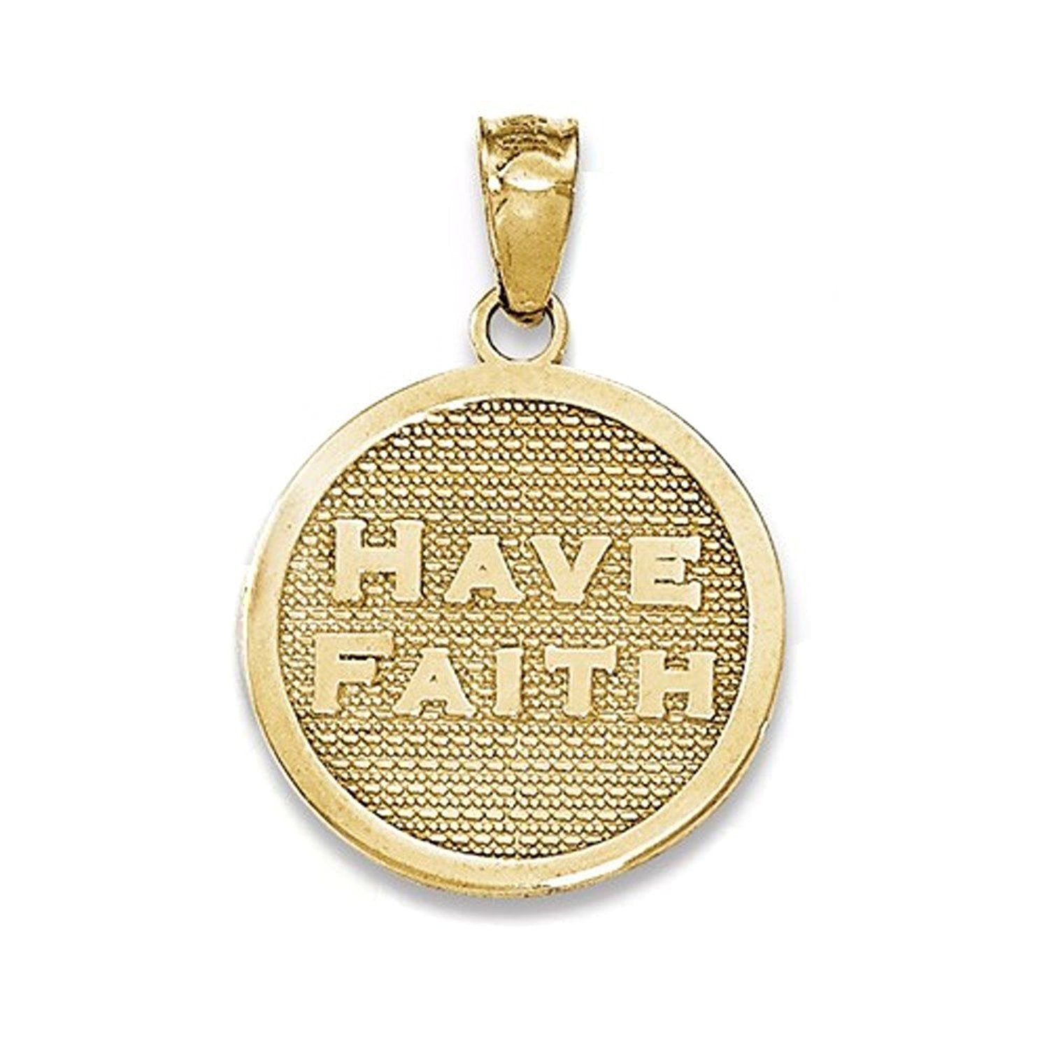 14k Yellow Gold Have Faith Footprints Reversible Pendant Charm