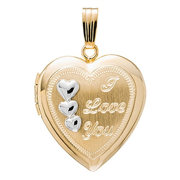 14k Gold Heart I Love You Locket Pendant Charm