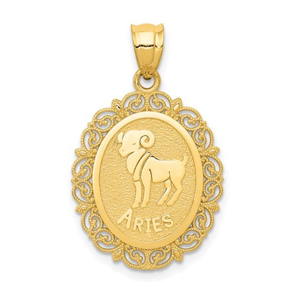 14k Yellow Gold Aries Zodiac Horoscope Oval Pendant Charm
