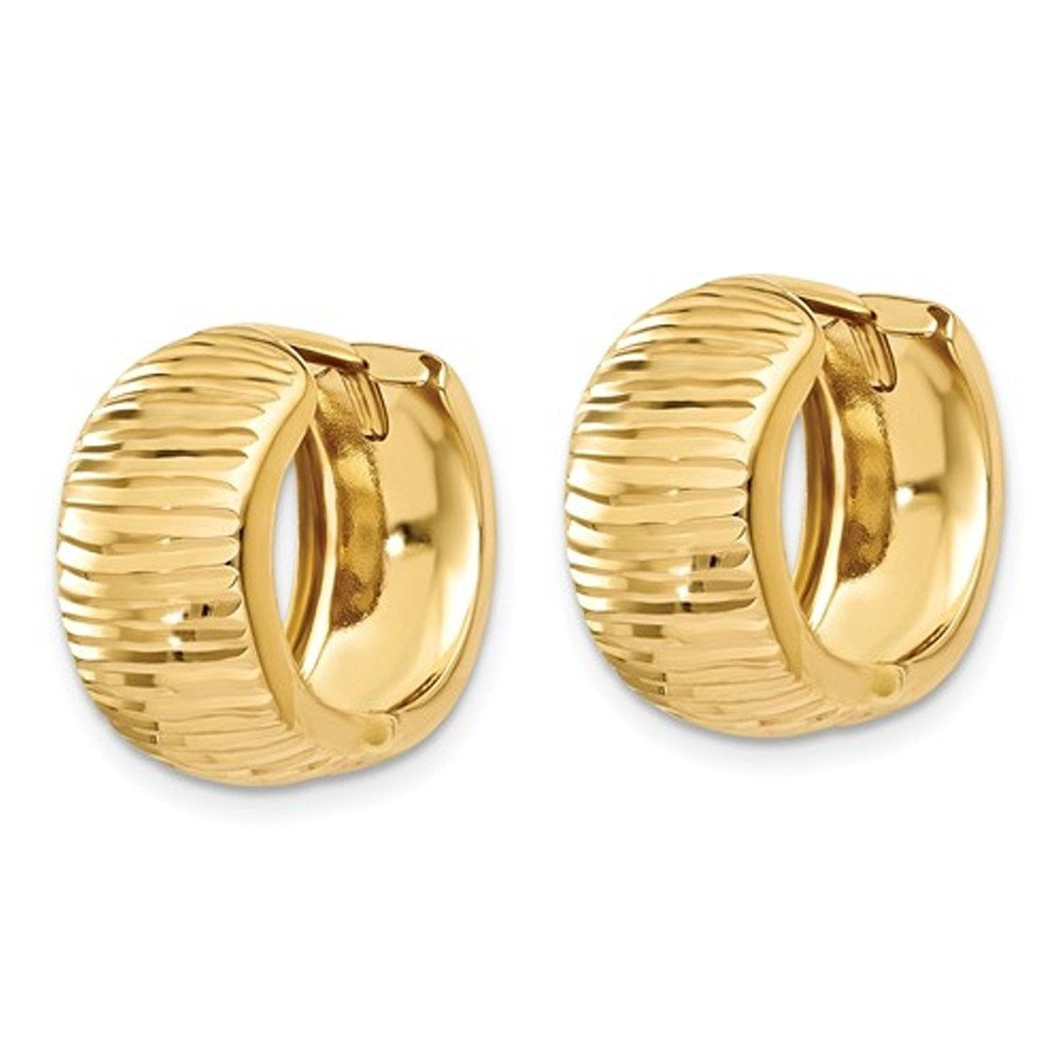 14k Yellow Gold Textured Hinged Hoop Huggie Earrings