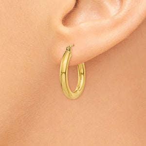 14K Yellow Gold 19mm x 3mm Lightweight Round Hoop Earrings