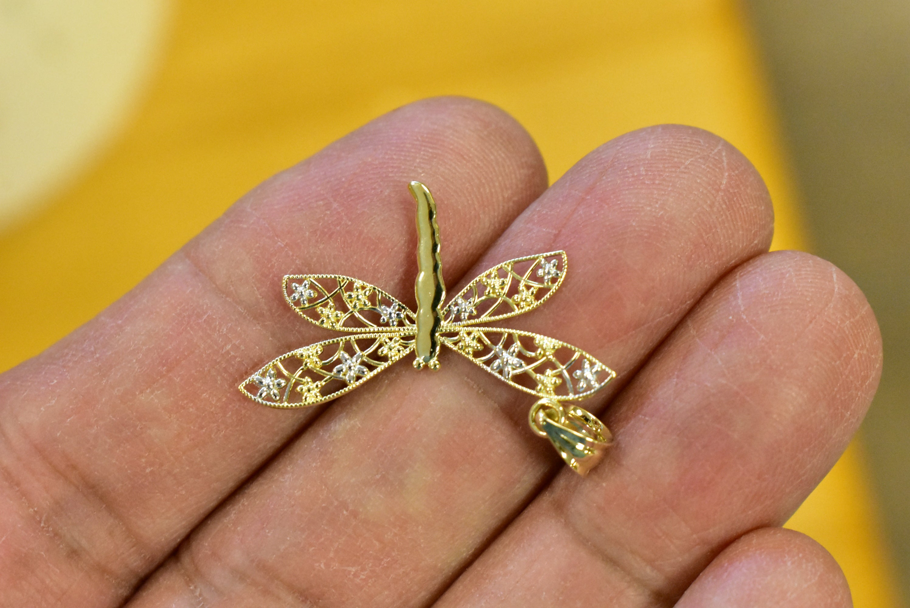 14k Yellow Gold and Rhodium Dragonfly Pendant Charm