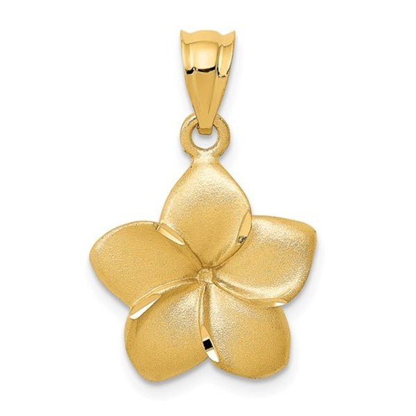 14k Yellow Gold Plumeria Flower Small Pendant Charm
