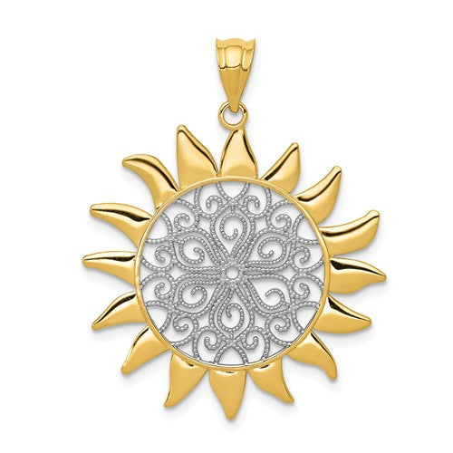 14k Gold and Rhodium Sun Filigree Pendant Charm