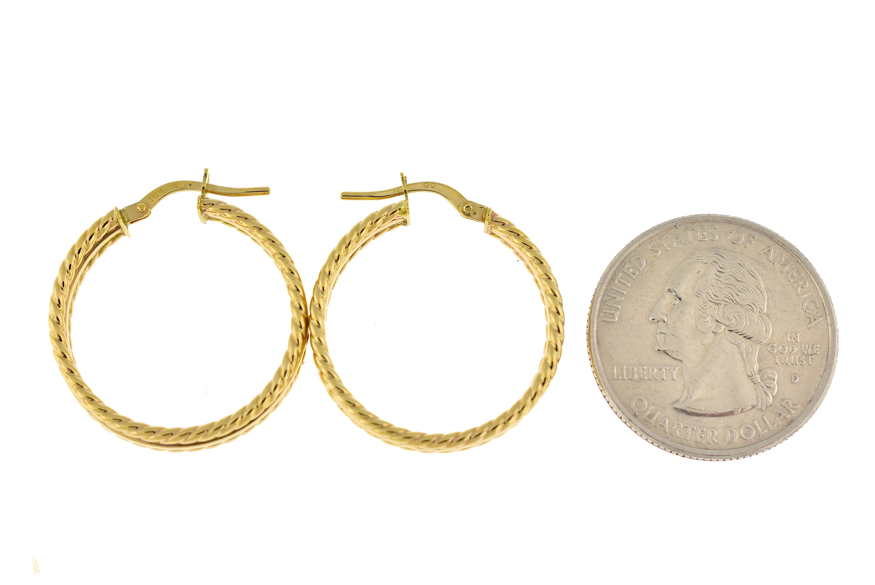 14K Yellow Gold 22mmx4.5mm Textured Modern Contemporary Round Hoop Earrings