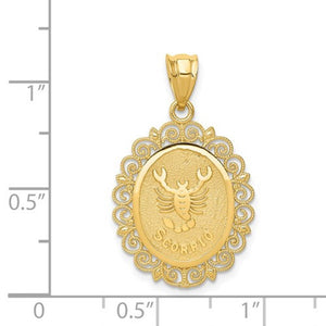 14k Yellow Gold Scorpio Zodiac Horoscope Oval Pendant Charm