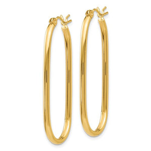 14k Yellow Gold Classic Large Oval Tube Hoop Earrings