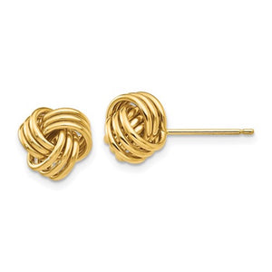 14k Yellow Gold Love Knot Stud Post Earrings