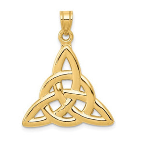 14k Yellow Gold Celtic Trinity Open Back Pendant Charm
