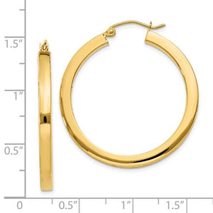 14K Yellow Gold 34mm Square Tube Round Hollow Hoop Earrings