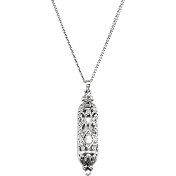 Sterling Silver Mezuzah Pendant Charm Necklace 18 inches