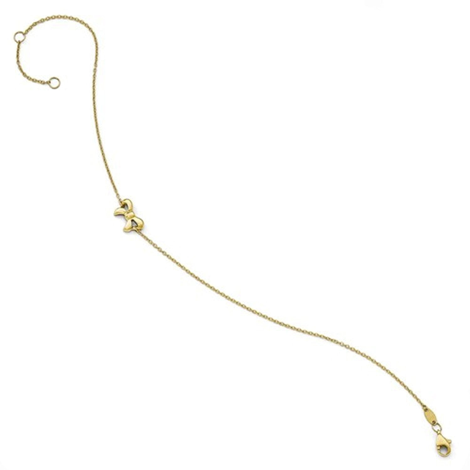 14k Yellow Gold Bow Ribbon Anklet 9 Inch with Extender