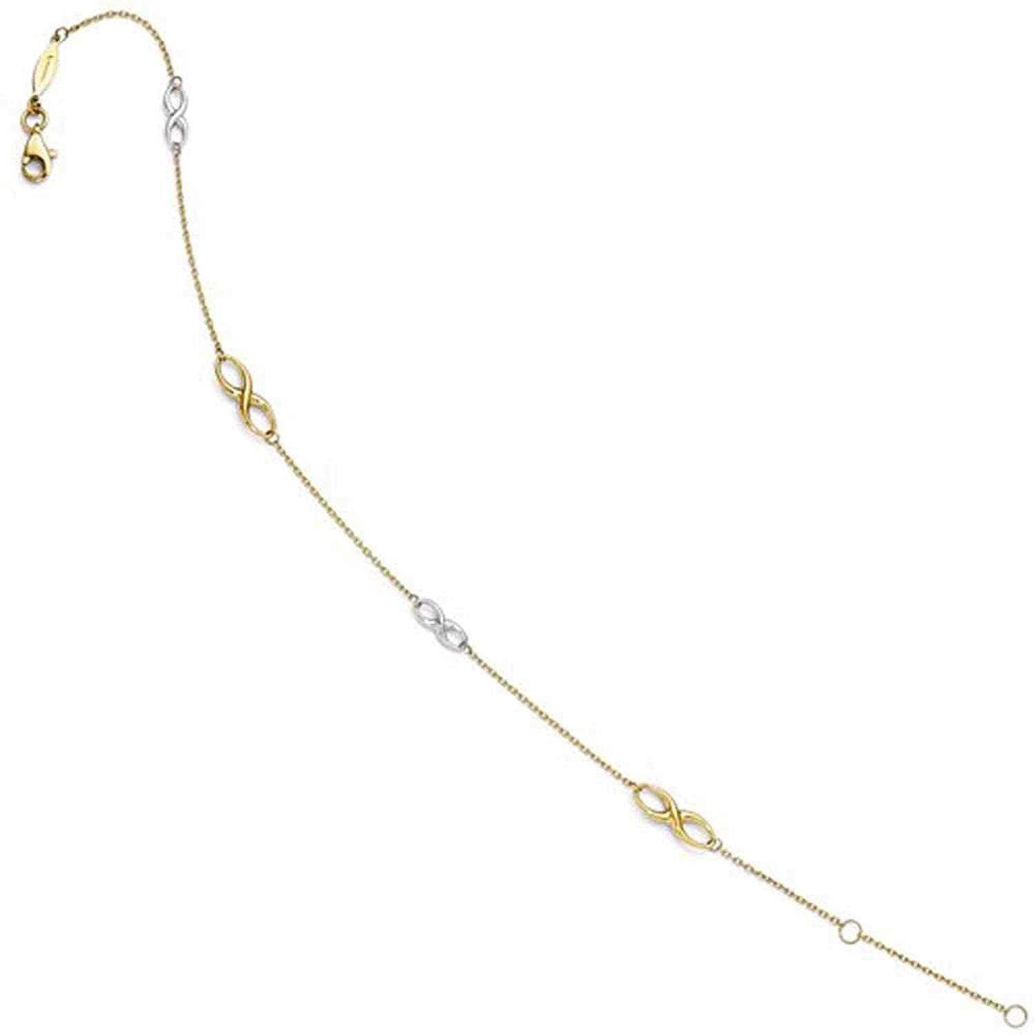 14k Gold Two Tone Infinity Anklet 9 inches plus Extender