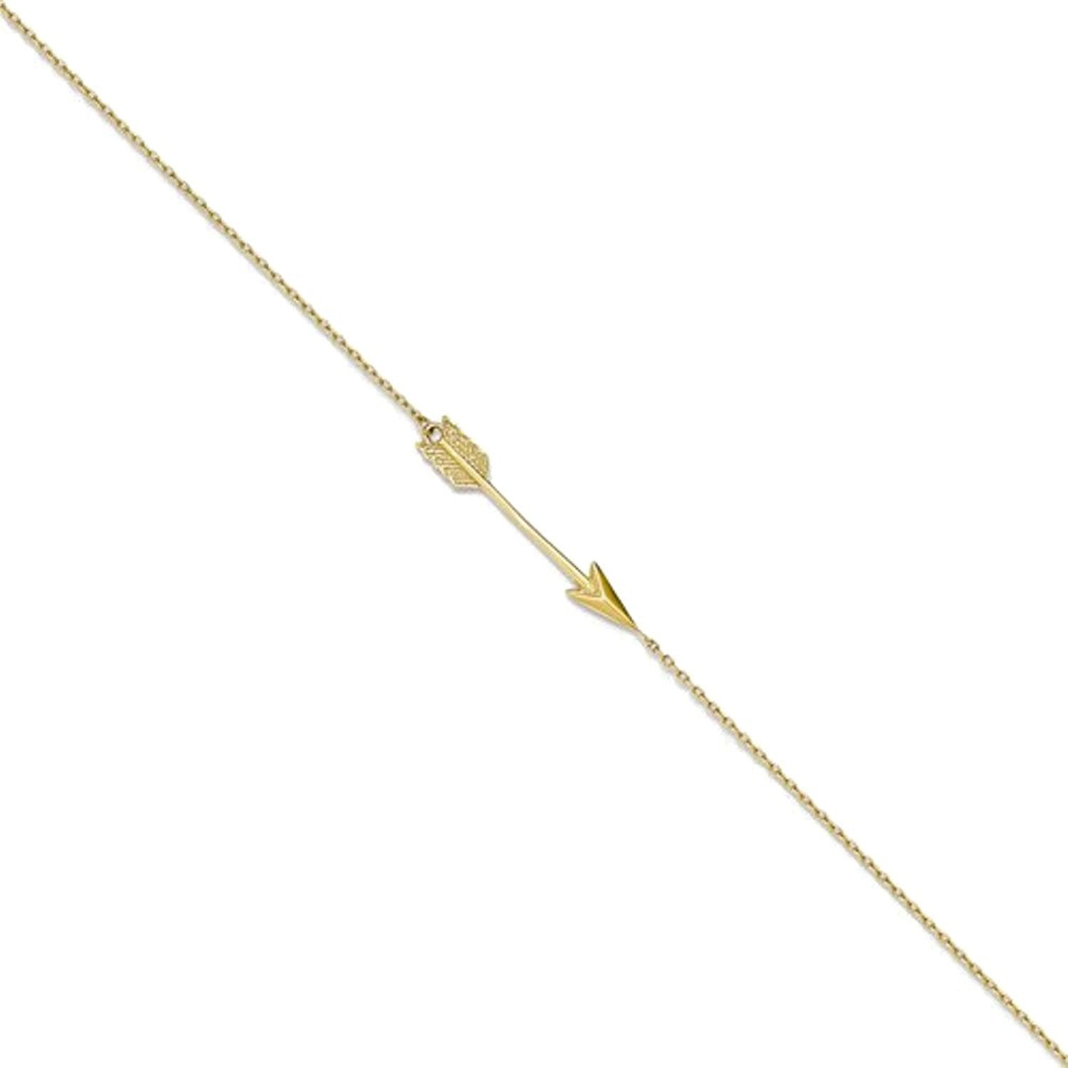 14k Yellow Gold Arrow Anklet 9 Inch with Extender