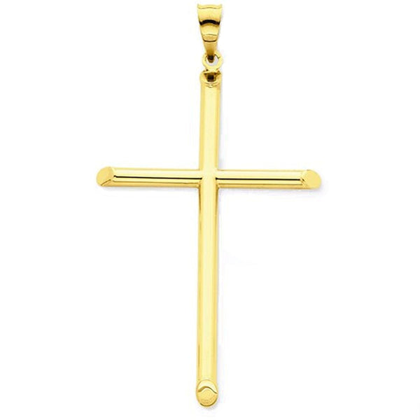 14k Yellow Gold Cross Polished 3D Hollow Large Pendant Charm
