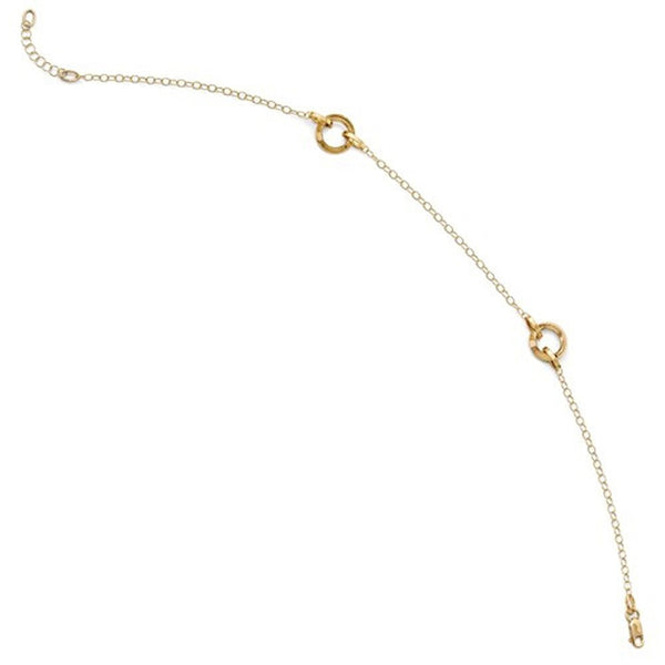 14k Yellow Gold Circle Round Anklet 10 Inches plus Extender
