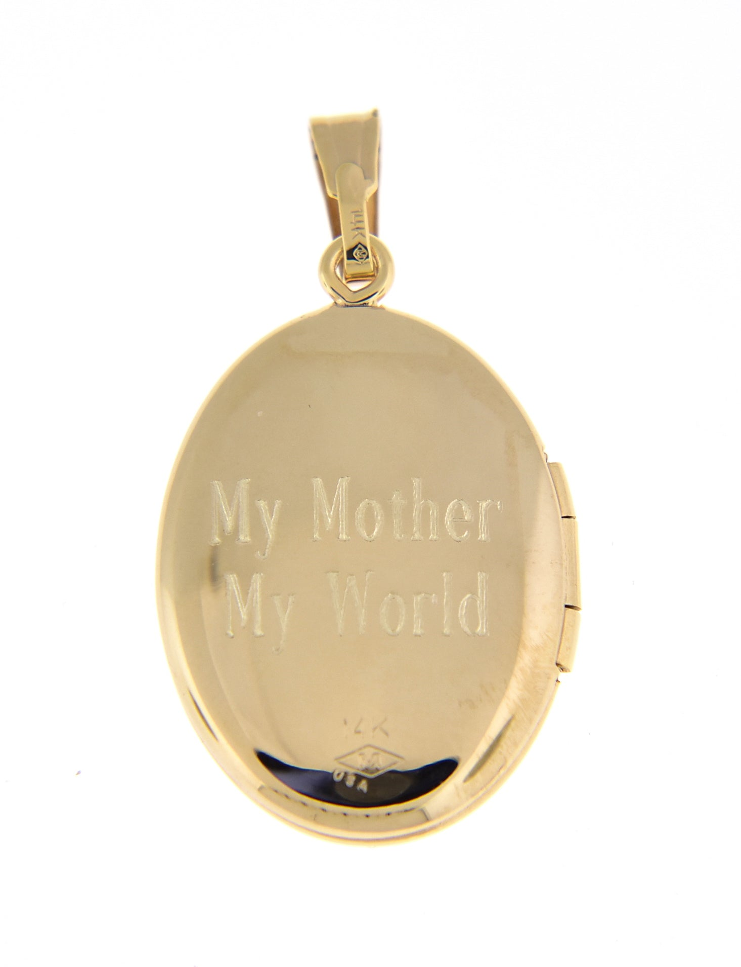 14k Yellow Gold Oval Flower Locket Pendant Charm