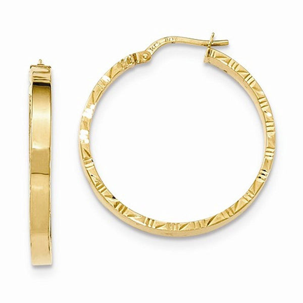14K Yellow Gold 30mm x 3mm Textured Edge Hoop Earrings