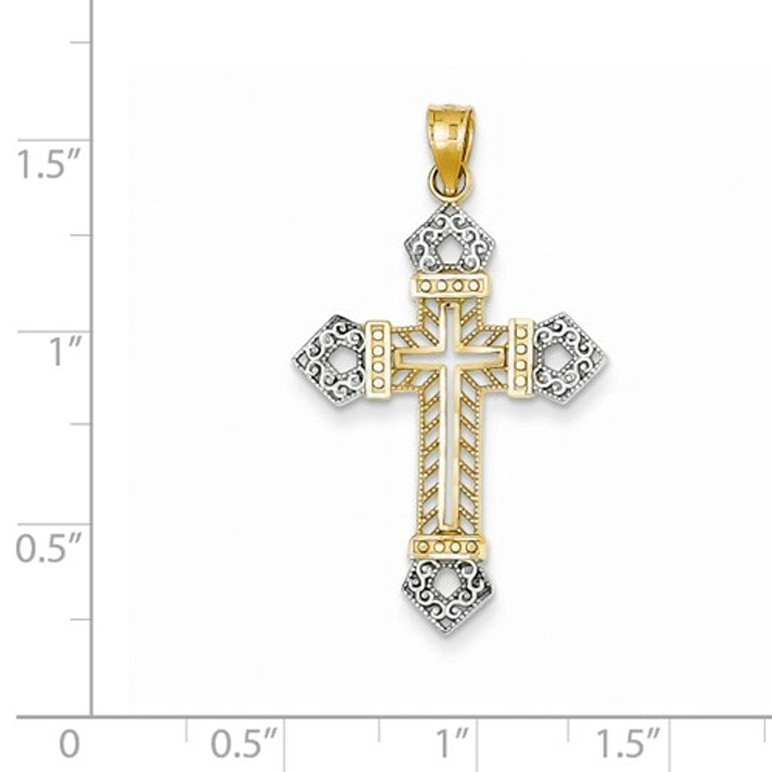 14k Yellow Gold and Rhodium Cross Pendant Charm