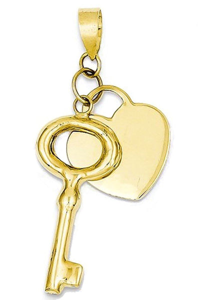 14k Yellow Gold Heart and Key Pendant Charm