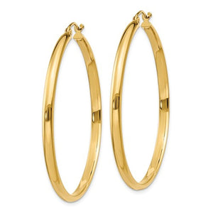 14K Yellow Gold Large Classic Round Hoop Earrings
