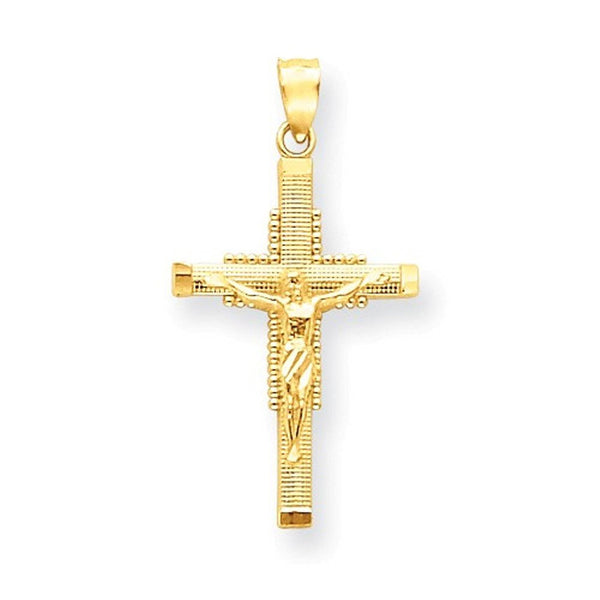 14k Yellow Gold Crucifix Cross Pendant Charm