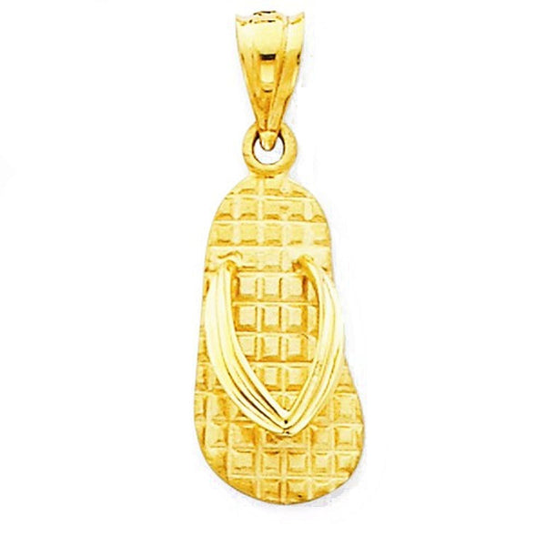 14k Yellow Gold Small Flip Flop Sandals Pendant Charm