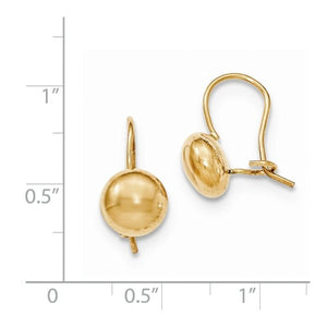 14k Yellow Gold Round Button 8mm Kidney Wire Button Earrings