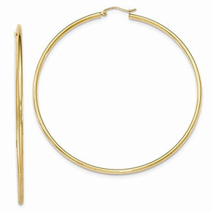 14K Yellow Gold 70mm x 2mm Round Classic Hoop Earrings