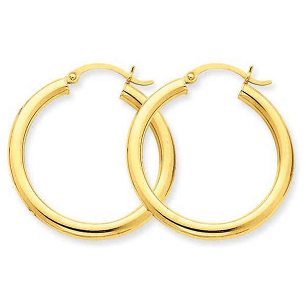 14K Yellow Gold 29mm x 3mm Lightweight Round Hoop Earrings