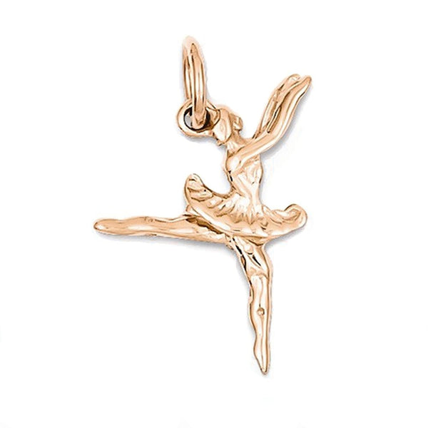14k Rose Gold Ballerina Ballet Dancer 3D Small Pendant Charm