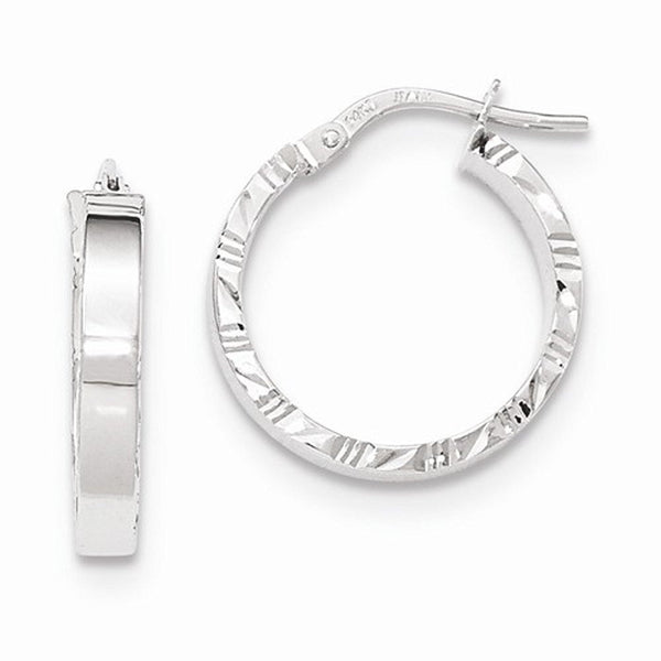 14K White Gold 19mm x 3mm Textured Edge Hoop Earrings