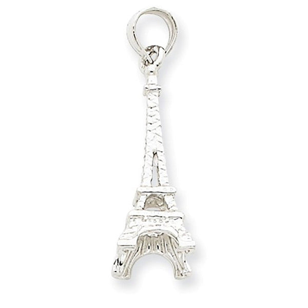14k White Gold Paris Eiffel Tower 3D Pendant Charm