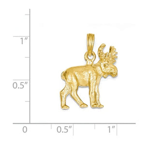 14k Yellow Gold Moose 3D Small Pendant Charm
