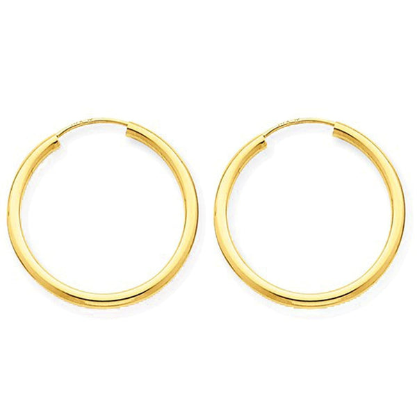14K Yellow Gold 22mm x 2mm Round Endless Hoop Earrings