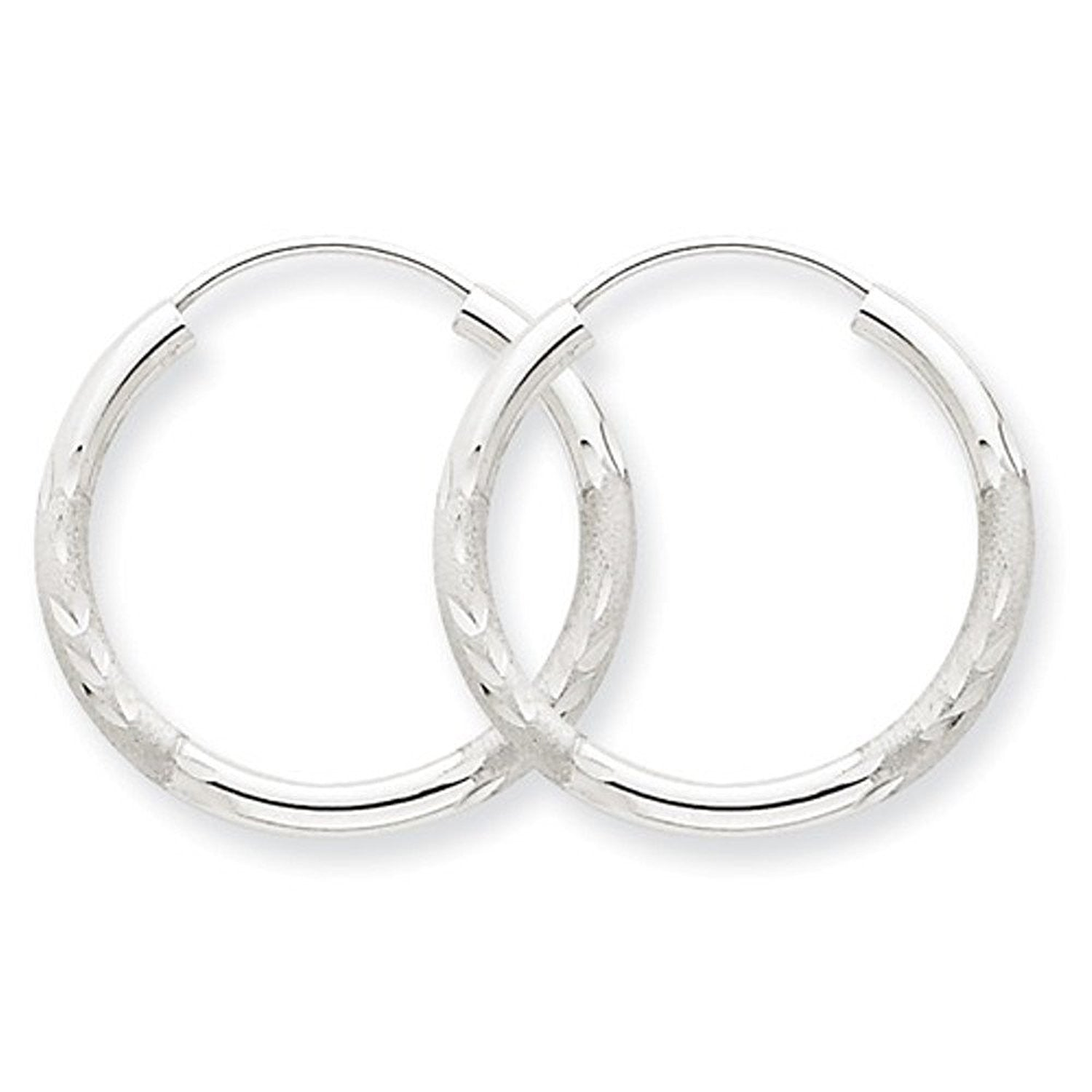 14K White Gold 20mm Satin Textured Round Endless Hoop Earrings