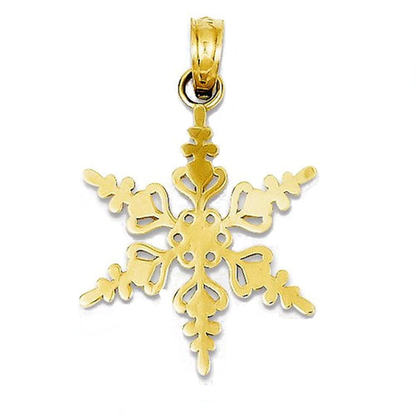 14k Yellow Gold Snowflake Winter Wonderland Pendant Charm