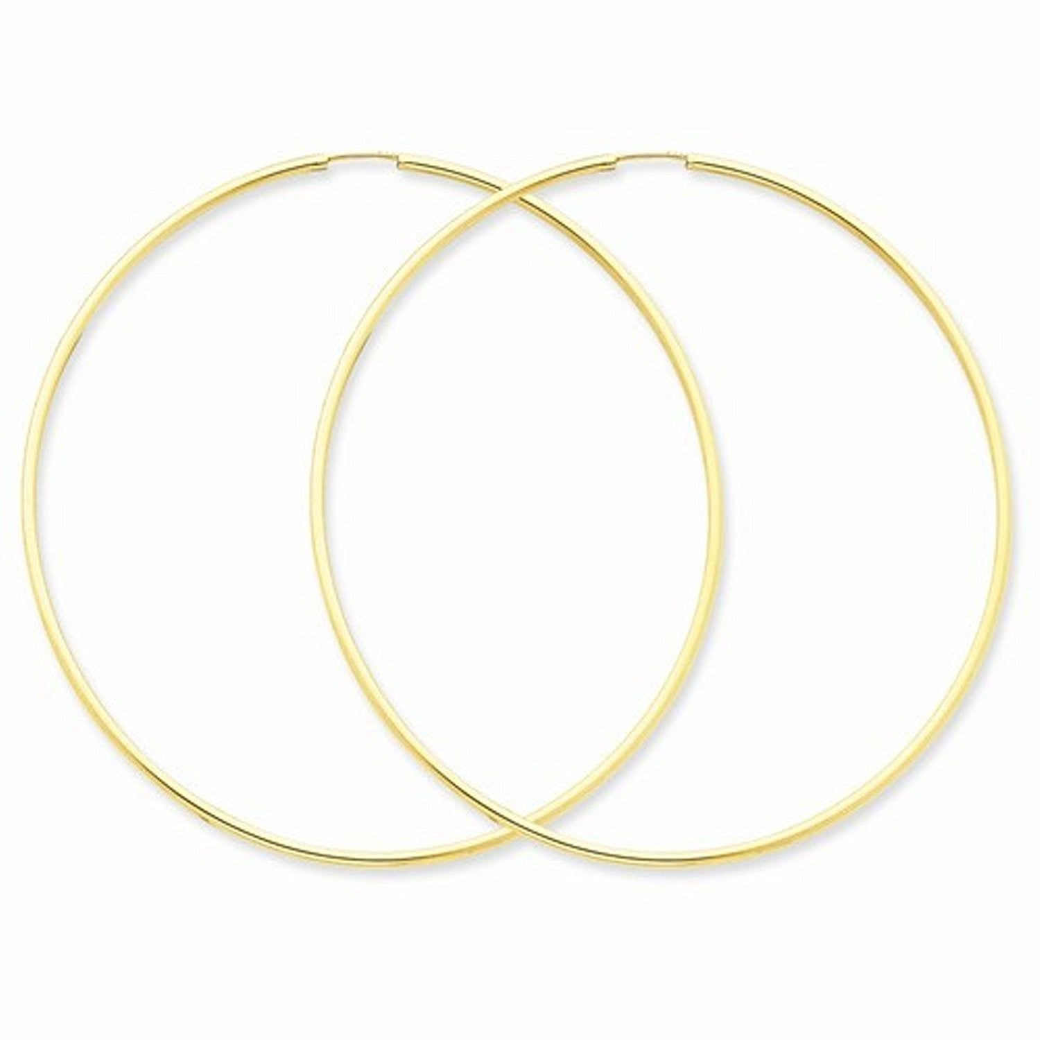 14K Yellow Gold 60mm x 1.5mm Endless Round Hoop Earrings
