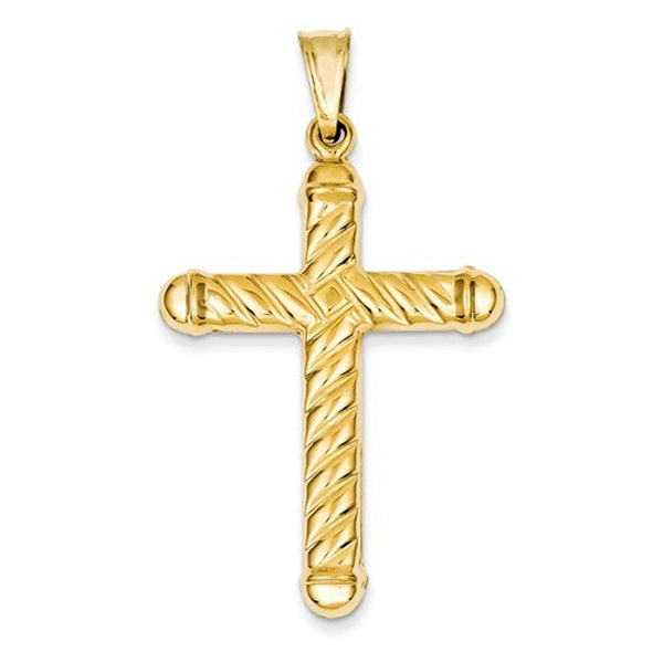 14k Yellow Gold Cross Hollow 3D Large Pendant Charm