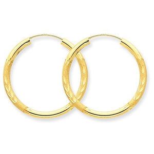 14K Yellow Gold 23mm Satin Textured Round Endless Hoop Earrings