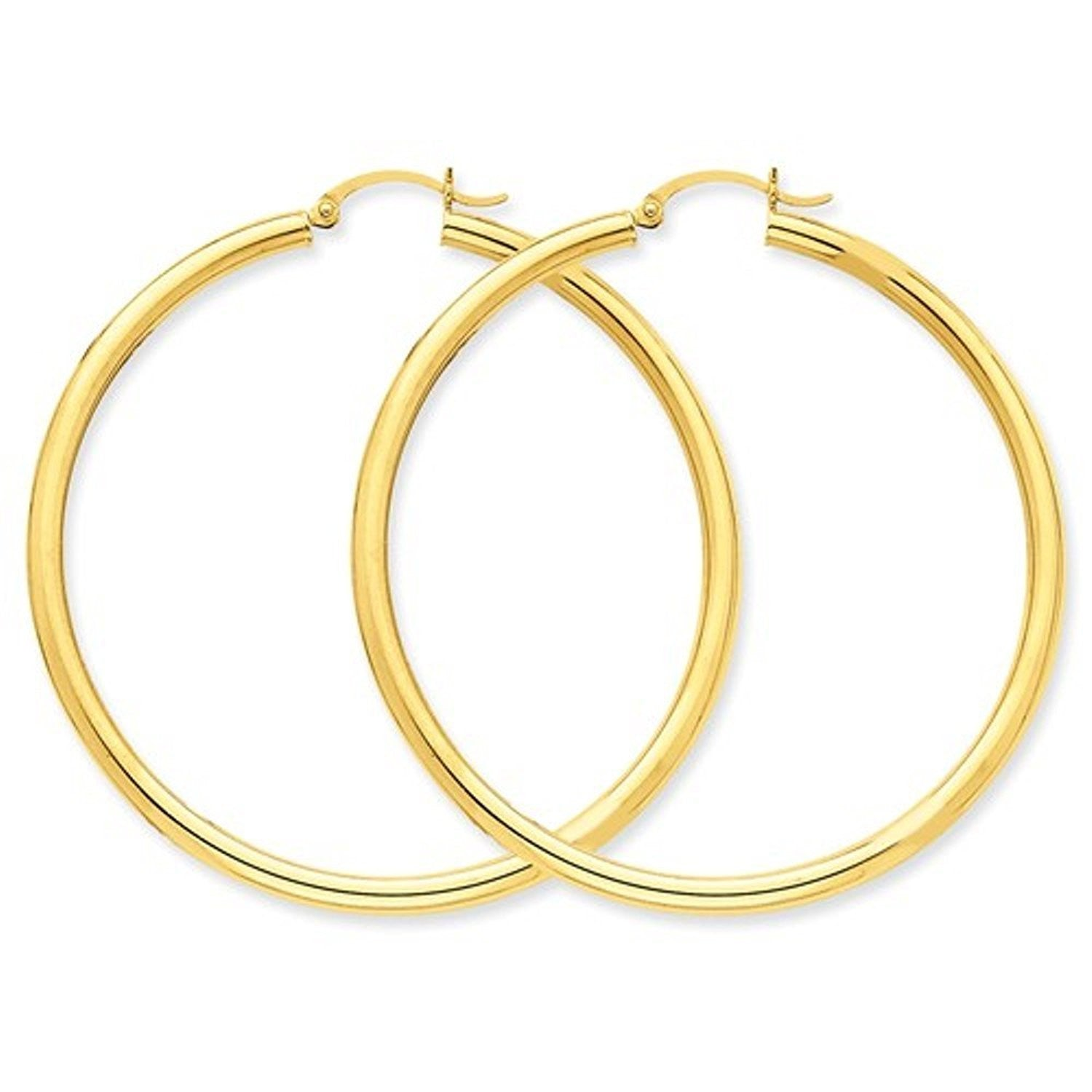 14K Yellow Gold 55mm x 3mm Classic Round Hoop Earrings
